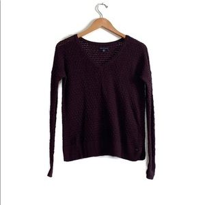 American Eagle Purple Cable Knit V-Neck Sweater XS